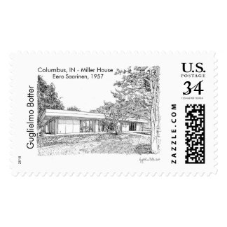 Columbus, IN: Miller House, Eero Saarinen 1957 Postage