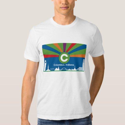 Columbus indiana flag t shirt zazzle for Columbus ohio t shirt printing