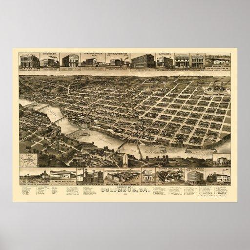 Columbus, mapa panorámico del GA - 1886 Impresiones