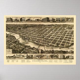 Columbus, mapa panorámico del GA - 1886 Póster