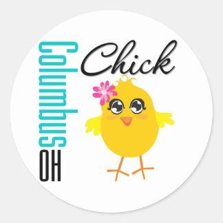 Columbus OH Chick Classic Round Sticker