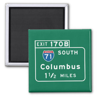 Columbus, OH Road Sign 2 Inch Square Magnet