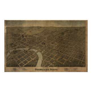 Columbus Ohio 1872 Antique Panoramic Map Poster