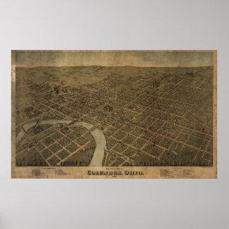 Columbus Ohio 1872 Antique Panoramic Map Print