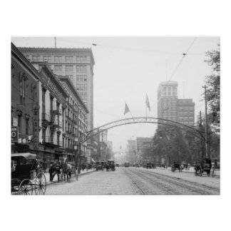 Columbus, Ohio - calle principal 1910 Póster