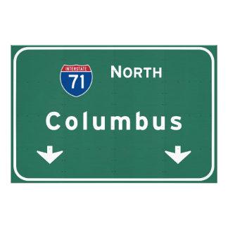 Columbus Ohio oh Interstate Highway Freeway Road : Photo Print