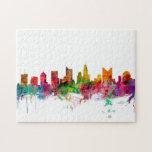 "Columbus Ohio Skyline Jigsaw Puzzle<br><div class=""desc"">Watercolor art print of the skyline of Columbus,  Ohio,  United States</div>"