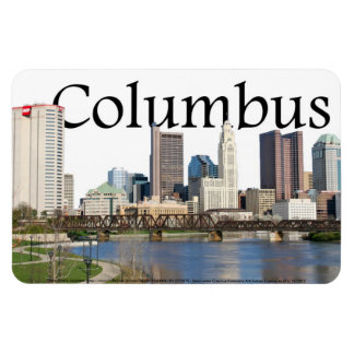 Columbus Ohio skyline with Columbus in the Sky Rectangular Photo Magnet