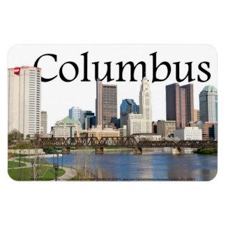 Columbus Ohio skyline with Columbus in the Sky Rectangular Photo Magnet