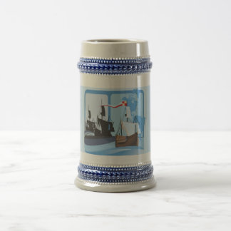 Columbus que navega el azul de océano -