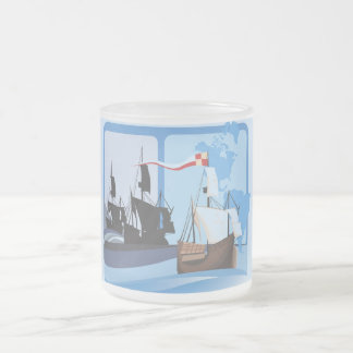 Columbus Sailing the Ocean Blue - Frosted Glass Coffee Mug