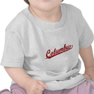 Columbus script logo in red tshirts