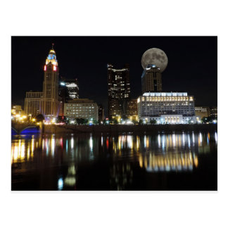 Columbus Skyline with the Moon Postcard