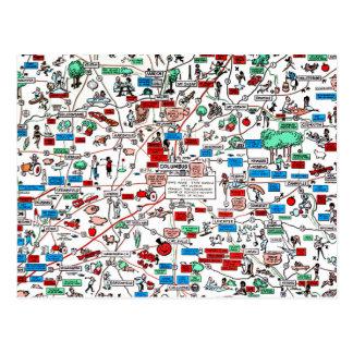 Columbus Springfield Newark retro 60s cartoon map Postcard