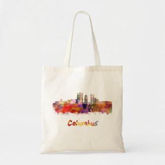Columbus V2 skyline in watercolor Tote Bag