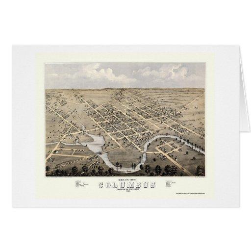 Columbus, WI Panoramic Map - 1868 Card