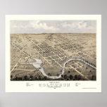 Columbus, WI Panoramic Map - 1868 Poster