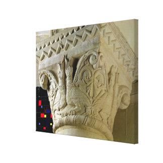 Column capital bearing symmetrically arranged grot canvas print