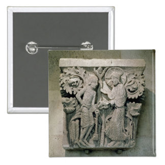 Column capital depicting Christ and James the Less 2 Inch Square Button