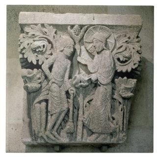 Column capital depicting Christ and James the Less Ceramic Tile