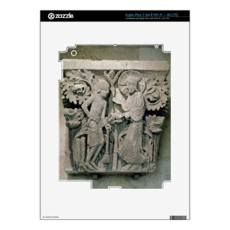 Column capital depicting Christ and James the Less Skin For iPad 3