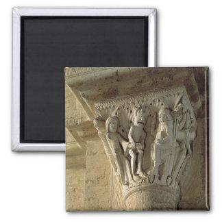 Column Capital, depicting St Benedict performing a Magnet