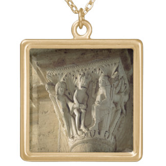 Column Capital, depicting St Benedict performing a Necklaces