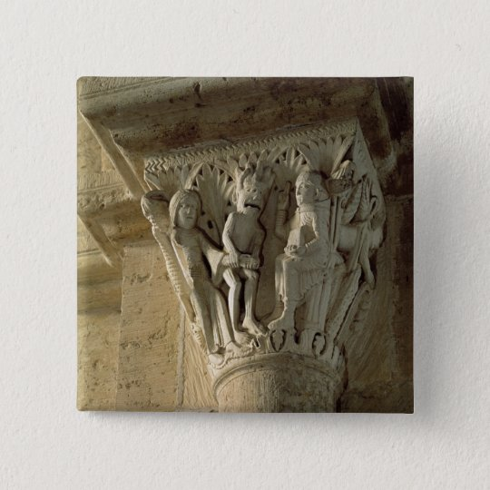 Column Capital, depicting St Benedict performing a Pinback Button