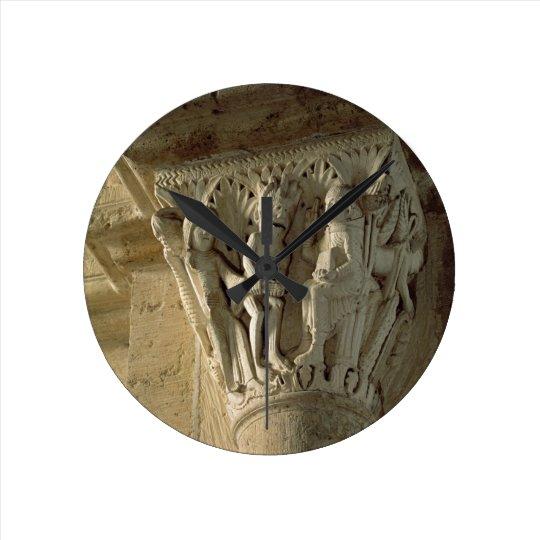 Column Capital, depicting St Benedict performing a Round Clock