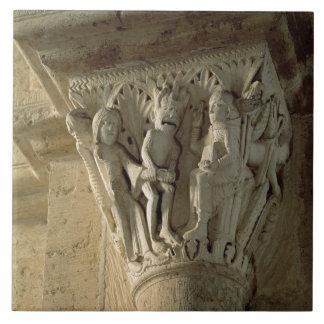 Column Capital, depicting St Benedict performing a Tile