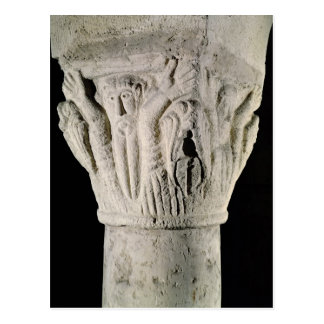 Column capital with a man with raised arms postcard