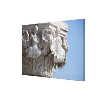 Column detail on the Doges' Palace Venice Italy Canvas Print