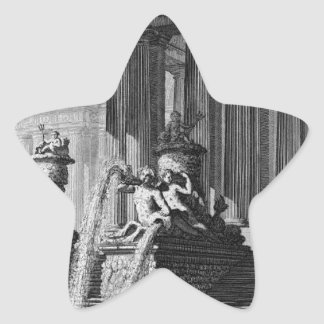 Column group holding two arcs of a large courtyard star sticker