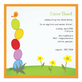 Column of eggs - easter partyinvitations 5.25x5.25 square paper invitation card