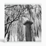 Column Under Weeping tree Black and White Picture 3 Ring Binders