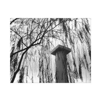 Column Under Weeping tree Black and White Picture Canvas Print