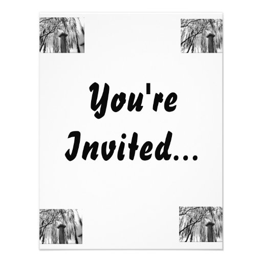 Column Under Weeping tree Black and White Picture Invitation