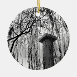 Column Under Weeping tree Black and White Picture Double-Sided Ceramic Round Christmas Ornament