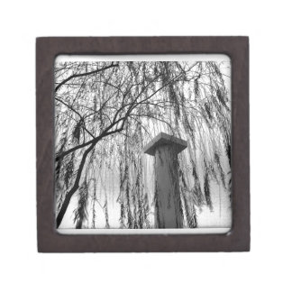 Column Under Weeping tree Black and White Picture Premium Keepsake Box