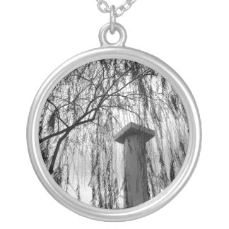 Column Under Weeping tree Black and White Picture Round Pendant Necklace