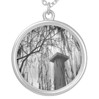 Column Under Weeping tree Black and White Picture Silver Plated Necklace