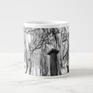 Column Under Weeping tree Black and White Picture specialtymug