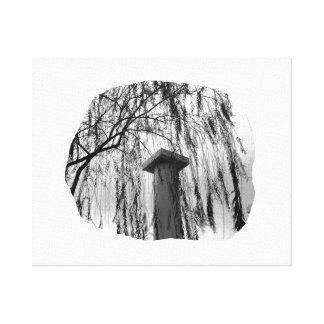 Column Under Weeping tree cutout Canvas Print
