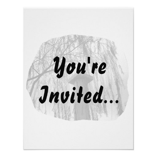 Column Under Weeping tree cutout Personalized Invitation