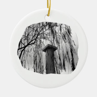 Column Under Weeping tree cutout Double-Sided Ceramic Round Christmas Ornament