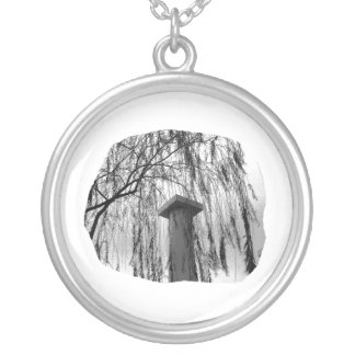 Column Under Weeping tree cutout Round Pendant Necklace