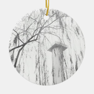 Column Under Weeping Tree High Dynamic range Double-Sided Ceramic Round Christmas Ornament