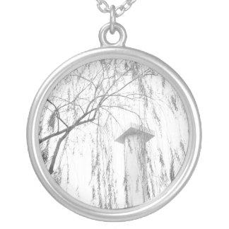 Column Under Weeping Tree High Dynamic range Round Pendant Necklace