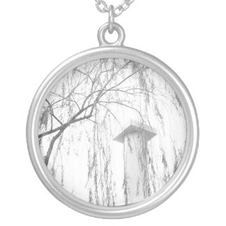 Column Under Weeping Tree High Dynamic range Round Pendant Necklace