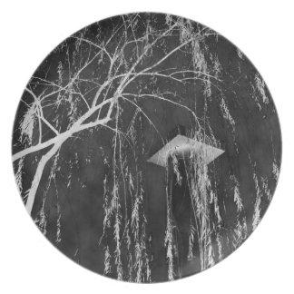 Column Under Weeping Tree Reverse Negative Dinner Plate